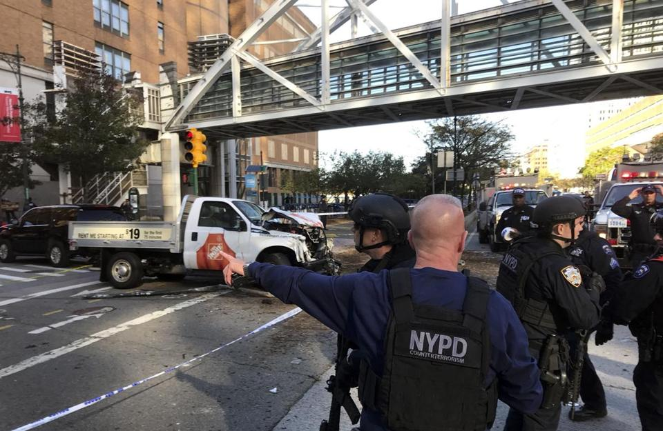 New York City police officers responded along West Street near the pedestrian bridge.